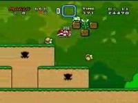 スーパーマリオワールド ゲーム開始1分7秒で残機を99機にしている動画