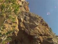 崖飛び込みに失敗して途中の岩肌に激突してしまう少年の映像。