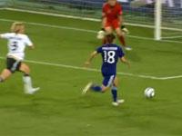 女子ワールドカップで、「なでしこジャパン」が初の四強を決めた丸山の決勝ゴール。