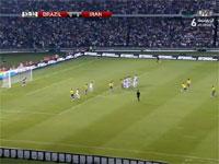 画質、技術、共に100点のフリーキック。イランvsブラジルの親善試合。