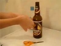 紐を使って簡単にビール瓶を1分で切断する方法